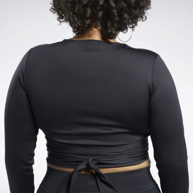 Women Classics Black Cardi B Long Sleeve Crop Top (Plus Size)