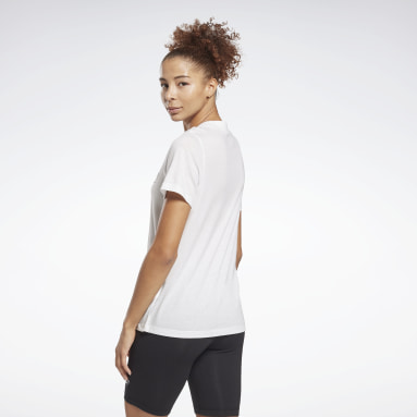 Women Fitness & Training White Reebok Identity Logo T-Shirt