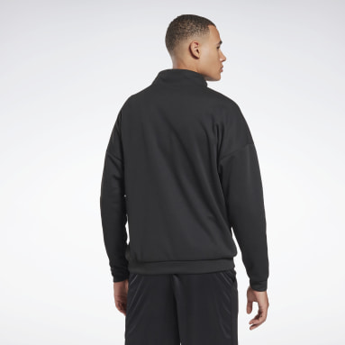 Men Hiking Black Workout Ready Doubleknit Quarter Zip Sweatshirt
