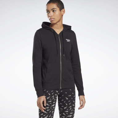 Women Fitness & Training Black Reebok Identity Jersey Zip Up Hoodie