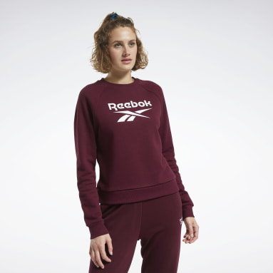 Women Classics Burgundy Classics Big Vector Crew Sweatshirt