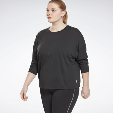 Frauen Wandern Workout Ready Supremium Long-Sleeve Shirt (Plus Size) Schwarz