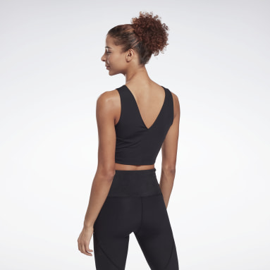 Women Pilates Black Perform Perforated Crop Top