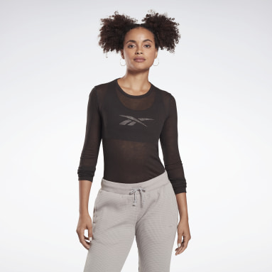 Women Studio Black Studio Ribbed Long Sleeve Tee