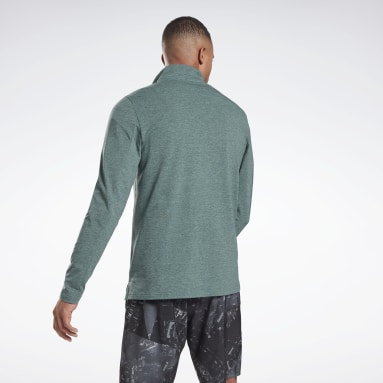 Men Trail Running Green Activchill+Cotton Quarter-Zip Top