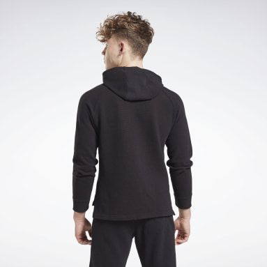 Men Fitness & Training Black Combat Waffle Hoodie