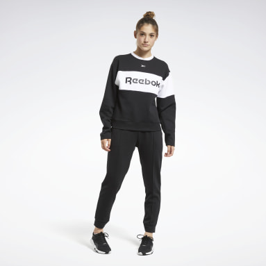 Women Fitness & Training Black Linear Logo Crewneck Tracksuit
