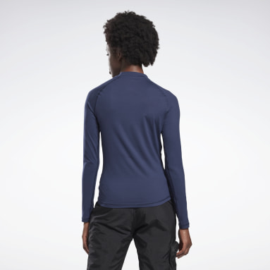 Women Hiking Blue Thermowarm Touch Graphic Base Layer Long-Sleeve Top