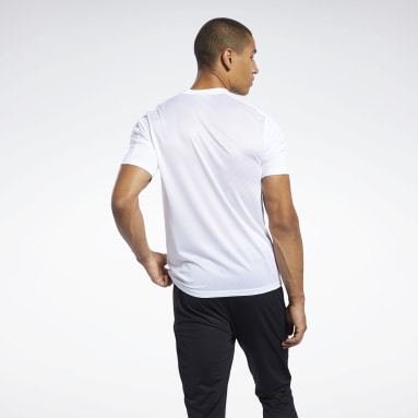 Men Hiking White Workout Ready Polyester Tech Tee