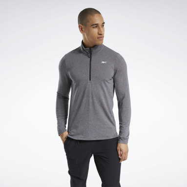 Men Pilates Black Activchill+Cotton Quarter-Zip Top