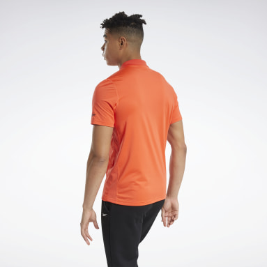 Men Training Orange Workout Ready Polo Shirt