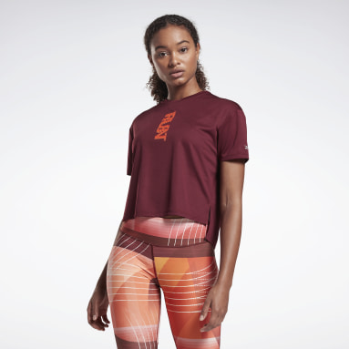 Women Trail Running Burgundy Run Essentials Run Fast T-Shirt