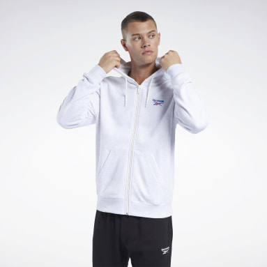 Men Classics White Classics Vector Full-Zip Hoodie
