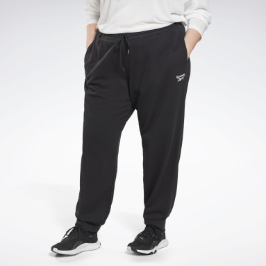 Women Fitness & Training Black Reebok Identity French Terry Joggers (Plus Size)