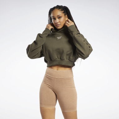 Dames Classics Groen Classics Cropped Heavyweight French Terry Hoodie