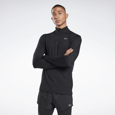 Men Trail Running Black Running Essentials Quarter-Zip Top