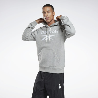 Men Fitness & Training Grey Reebok Identity Big Logo Hoodie