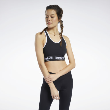 Women Fitness & Training Black Training Essentials Linear Logo Low-Impact Bralette