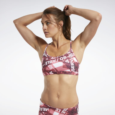 Women Cross Training Burgundy Reebok CrossFit® Skinny Strap Medium-Impact Taped Print Bra