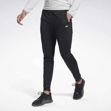 Men Walking Black Knit Track Pants