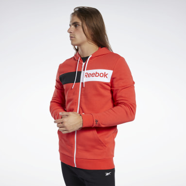 Männer Fitness & Training Training Essentials Linear Logo Hoodie Rot