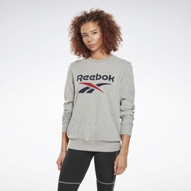 Jersey de cuello redondo Reebok Identity Logo French Terry Gris Mujer Fitness & Training