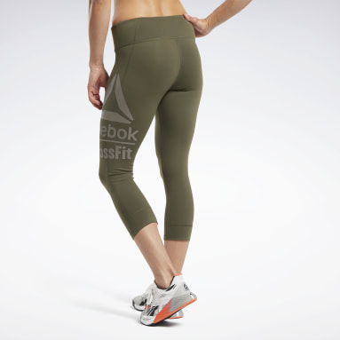 Women Cross Training Green Reebok CrossFit® Lux 3/4 Large Branded Tights