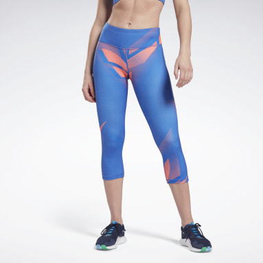 Women Training Blue MYT Printed Capri Tights