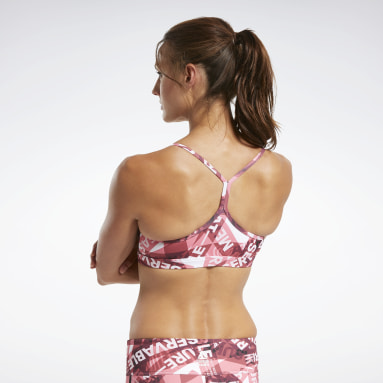 Women CrossFit Burgundy Reebok CrossFit® Skinny Strap Medium-Impact Taped Print Bra