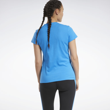 Women Fitness & Training Blue Training Essentials Stacked Logo Tee