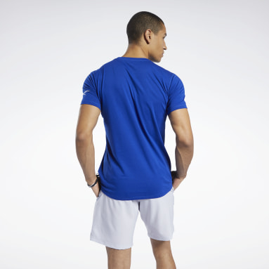 Men Yoga Blue Workout Ready Jersey Tech Tee