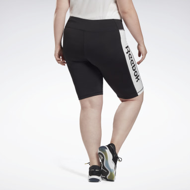 Frauen Studio Linear Logo Fitted Shorts (Plus Size) Schwarz