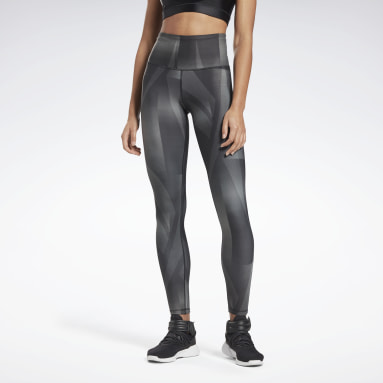 Women Pilates Black Lux Bold High-Rise Vector Block Tights