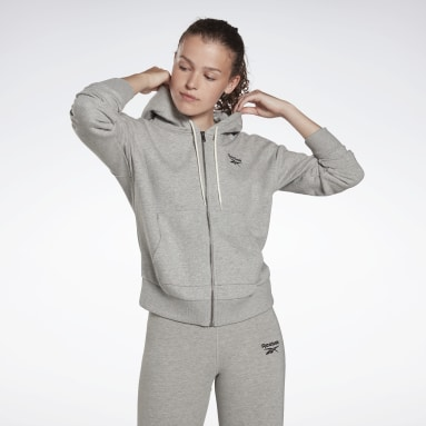 Felpa con cappuccio Reebok Identity Zip-Up Grigio Donna Fitness & Training