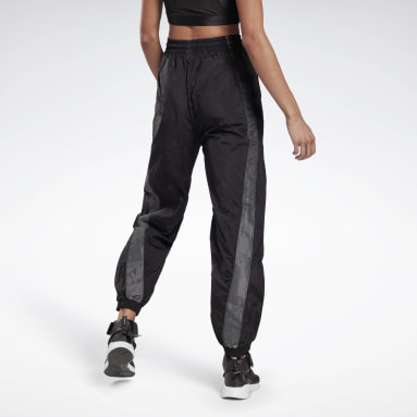Women Dance Black Shiny Woven Tracksuit Bottoms