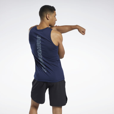 Men Pilates Blue Les Mills® Bodycombat® Supremium Graphic Tank Top