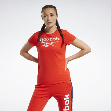 Women Fitness & Training Red Training Essentials Stacked Logo Tee