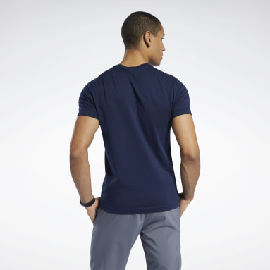 Remera Graphic Series Reebok Stacked Azul Hombre Fitness & Training