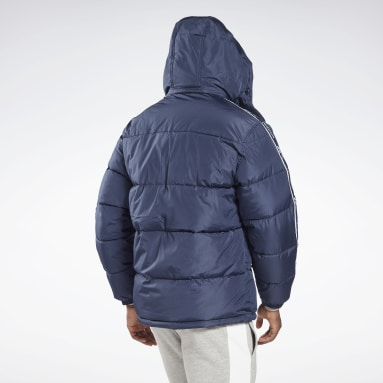 Men Hiking Blue Winter Puffer Jacket