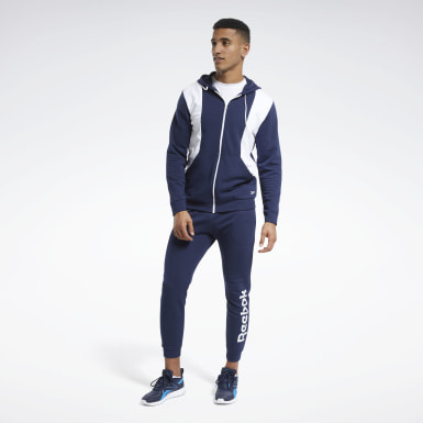 Heren Fitness & Training Blauw Training Essentials Linear Logo Trainingspak