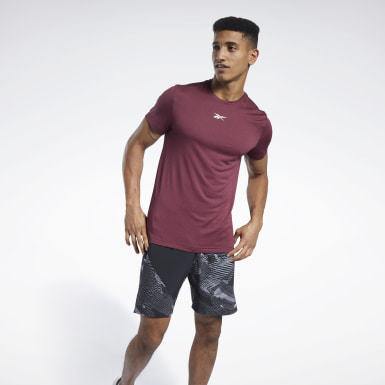 Men Fitness & Training Burgundy Workout Ready Mélange Tee