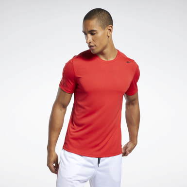 Männer Wandern Workout Ready Polyester Tech T-Shirt Rot