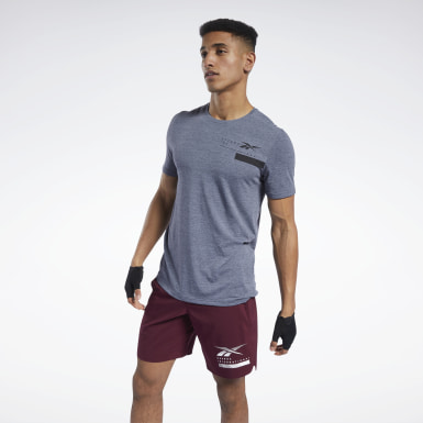 Men Fitness & Training Blue ACTIVCHILL+COTTON Tee