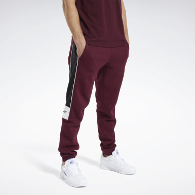 Men Classics Burgundy Classics Linear Pants
