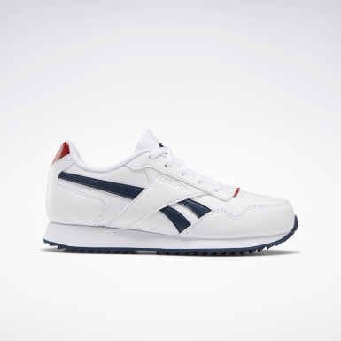Boys Classics White Reebok Royal Glide Ripple Shoes