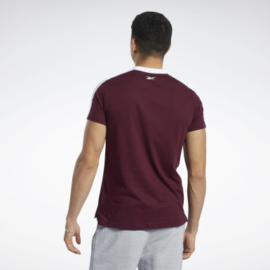 Men Fitness & Training Burgundy Training Essentials Linear Logo Graphic Tee