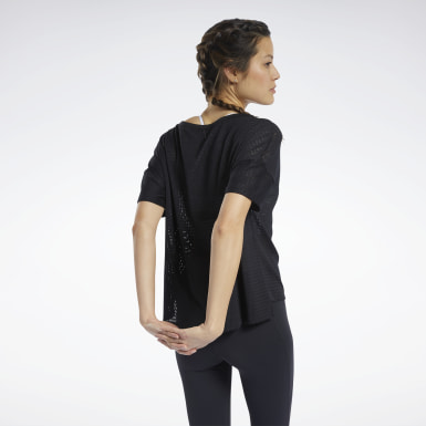 Women Training Black Perforated Tee