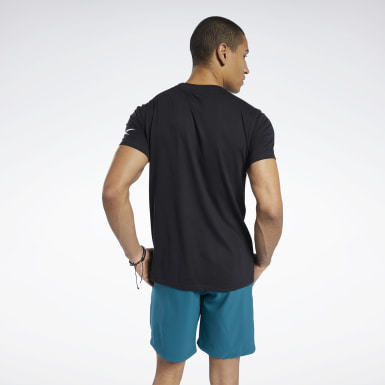 Men Yoga Black Workout Ready Jersey Tech Tee