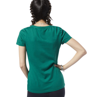 Remera Reebok Linear Read Scoop Neck Verde Mujer Fitness & Training