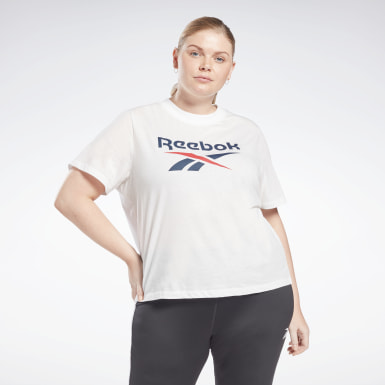 Frauen Fitness & Training Reebok Identity Cropped T-Shirt (Plus Size) Weiß
